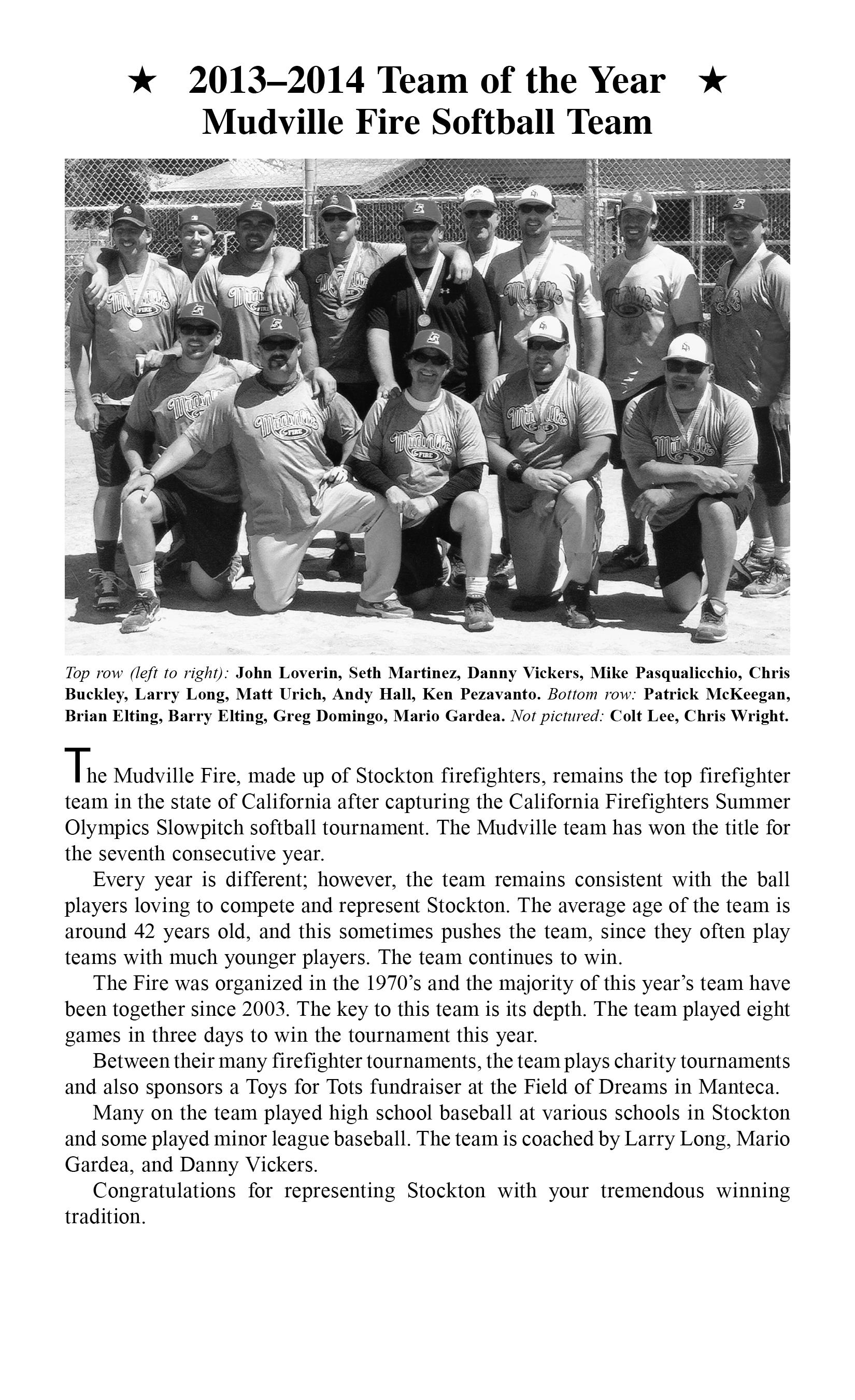 13-14 mudville fire softball team